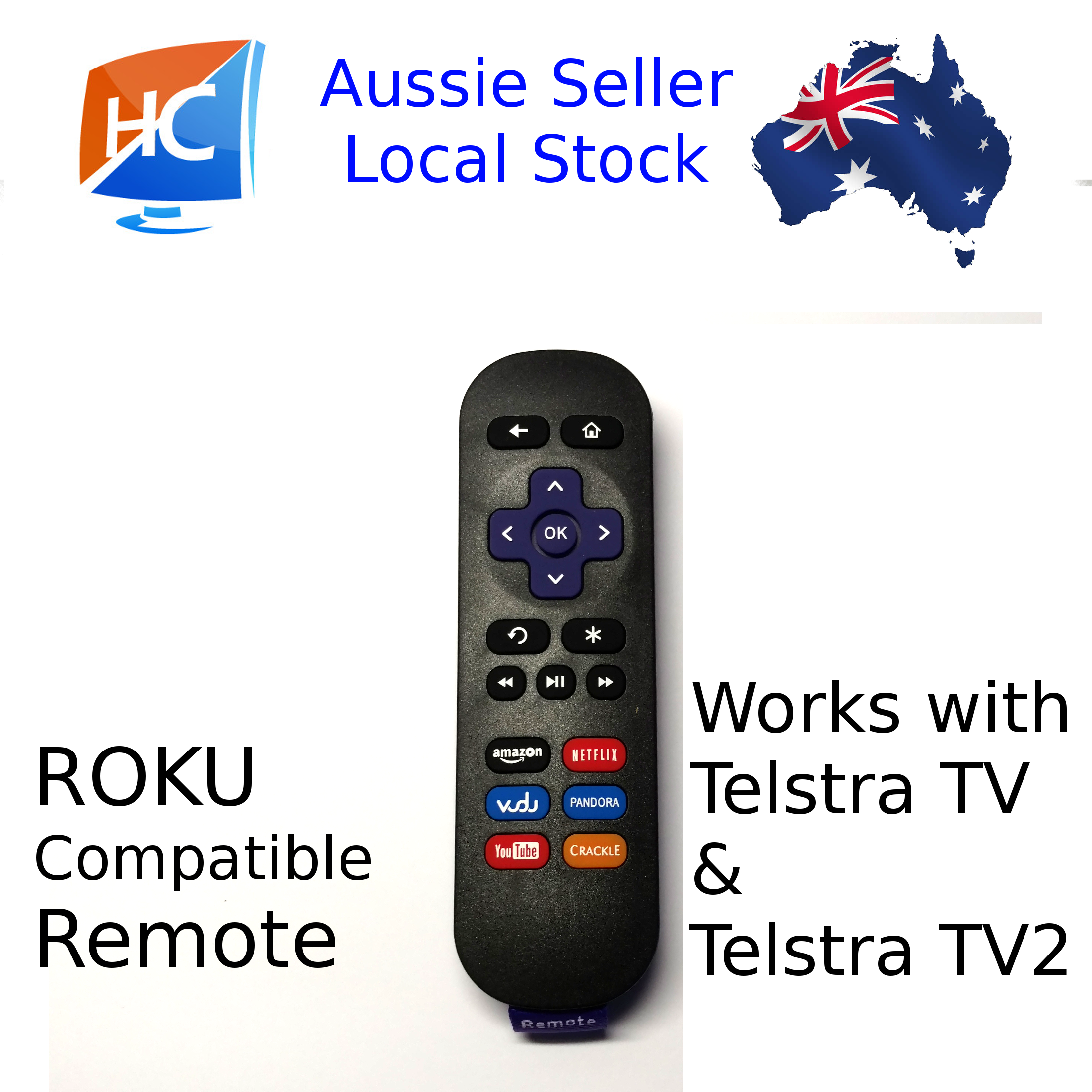 Telstra TV & TV2 Compatible Roku Remote